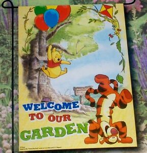 new disney winnie the pooh tigger welcome to our garden garden decor flag ebay. Black Bedroom Furniture Sets. Home Design Ideas
