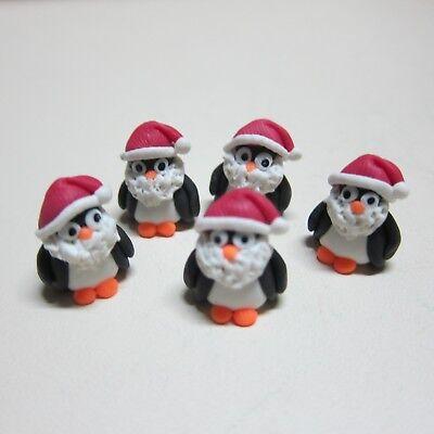 Set of 5 Santa Claus Christmas Dollhouse Miniatures Clay Figurine Holiday Season
