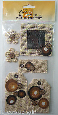 ~BUTTON TAGS & FLOWERS~ Embellishments Prima Marketing; brown, tan, fall, autumn