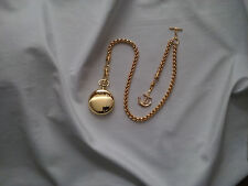 NEW HAND-MADE 22 kt. GOLD PLATED POCKET WATCH CHAIN: SINGLE ALBERT WHEAT LINK