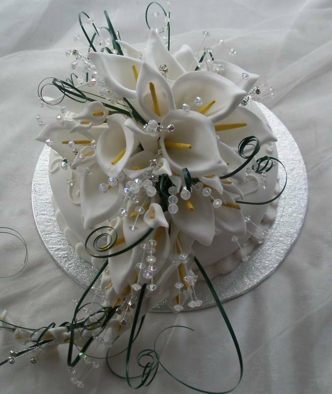 Wedding Flowers Large Cake Topper Shower Bouquet Weiß Calla Lily With Crystals