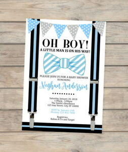 Image Is Loading Bow Tie Little Man Baby Shower Invitation Blue