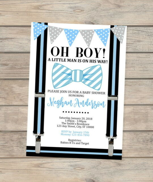 Vintage Bow Invitation Blue Bow Virtual Shower Boy Baby Shower Invitation Instant Access Editable Watercolor Bow Invite