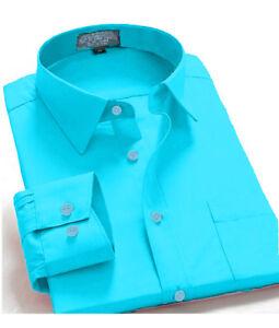 Men-039-s-Regular-Fit-Long-Sleeve-Solid-Color-One-Pocket-Casual-Dress-Shirt-Aqua
