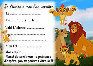Détails Sur 5 Cartes Invitations Anniversaire La Garde Du Roi Lion 01