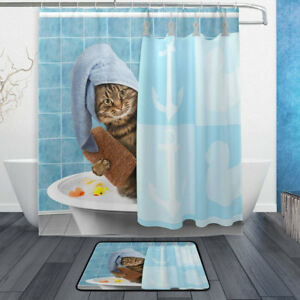 Shower Curtain Set Funny Kitten Cat Bathing Decor Bathroom Curtains + 12 Hooks