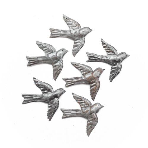 Fair Trade Metal Art Handcrafted Haitian Garden Sculpture Set of 6 Small Birds