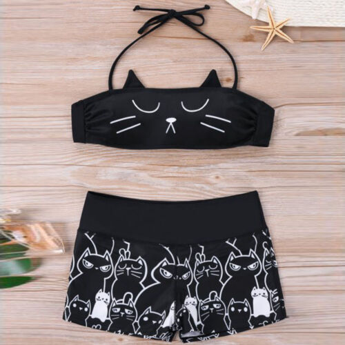 Women Girl Strappy Kitty Bikini Shorts Set Padded Bathing Swimsuit Swimwear S-XL