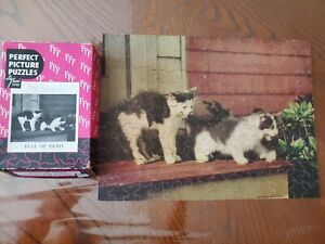 Vintage Jigsaw Puzzle CATS KITTENS Full of Fight Kodachrome H.A. Bond USA Old