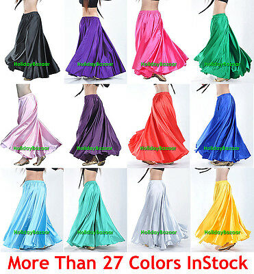Women Lady Satin Full Circle Belly Dance Skirt Costume Tribal S~3XL | 27 Color