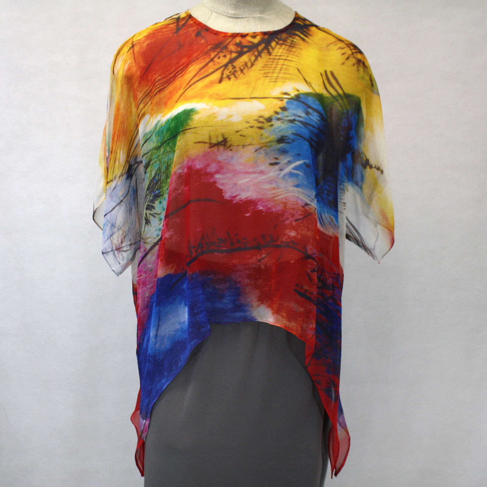 NEW Cocoon House Bright Idea Art 100% Silk Pointed Blouse Large   XL fits 1X