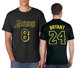 LAKERS #8 KOBE BRYANT #24 T-Shirt Black Mamba Basketball on Ring ...
