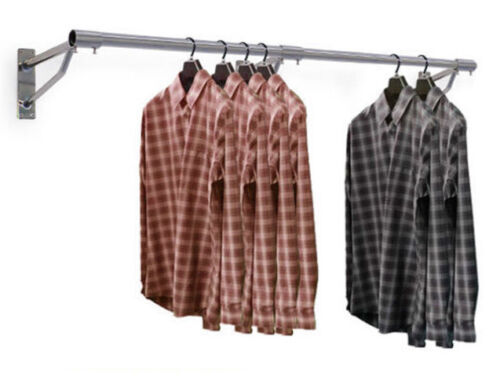Wall Mounted Hanging Clothes Rail Garment  Display Rack 1ft 10ft Shops /& Home