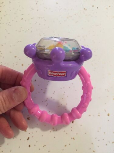 Baby Girl Fisher Price Brilliant Basics Diamond Ring Rattle Pink Teether