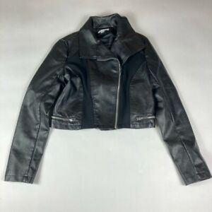New York & Company Womens Faux Leather Crop Moto Jacket Black Asymmetric Zip S