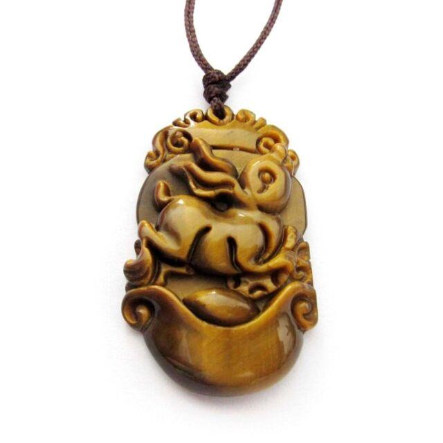 Tiger Eye Gemstone Happy Lucky Chinese Zodiac Rabbit Money Amulet Pendant
