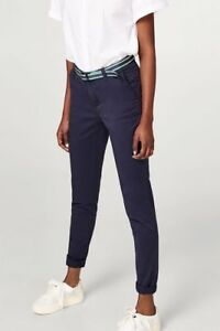 adb3245b330a5 Details about £55 Esprit Belted Slim Fit Cotton Coloured Chino Trousers  Navy Beige Pink Blue