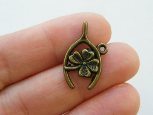 8 Wishbone four leaf clover charms antique bronze tone BC183