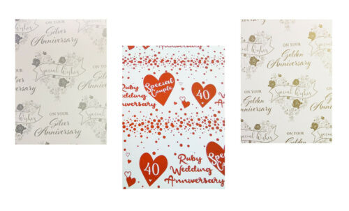 1 TAG  SILVER RUBY /& GOLDEN  GIFT WRAP 2 X WEDDING ANNIVERSARY WRAPPING PAPER