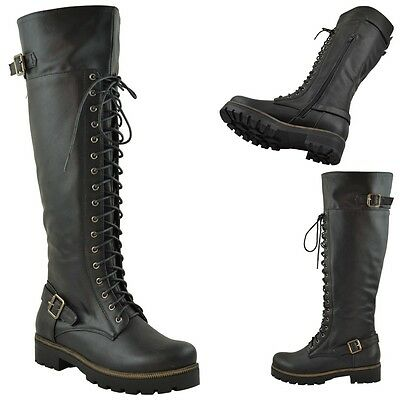Womens Over The High Knee Buckle Lace Up Combat Boots Knee High Zipper Closure