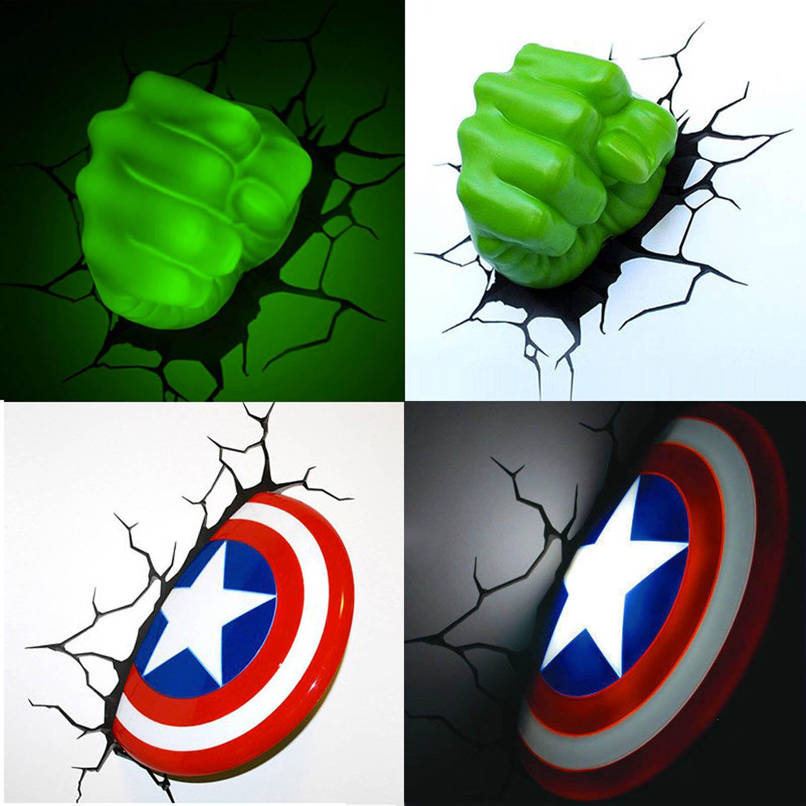 Marvel Vengadores Capitán América Escudo HULK FIST 3D Deco Wall LED luz de noche