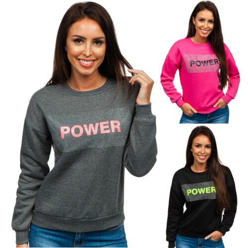 Sweatshirt Langarmshirt Pullover Rundhals Motiv Aufdruck Sport Damen BOLF Print