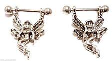 Nipple Shields-PAIR-Sexy Angel/Fairy Dangle 14 Gauge Barbells Steel Body Jewelry