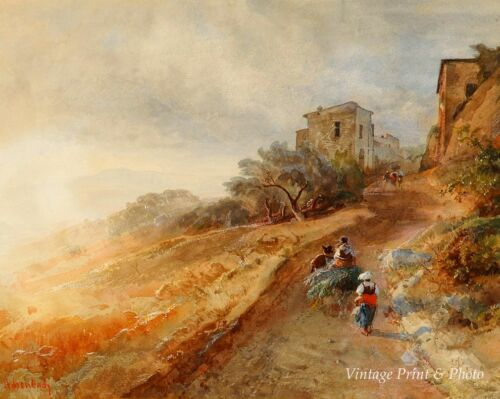 Morning Sun in the Hills of Albania by Oswald Achenbach 8x10 Print 0638
