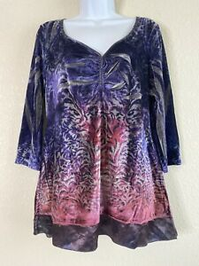 Energe-World-Wear-Womens-Size-L-Purple-Velvet-Blouse-3-4-Sleeve