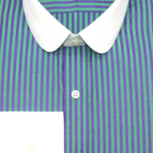Mens Peaky Blinders shirt Club collar Green Blue stripes Round Penny collar Gent
