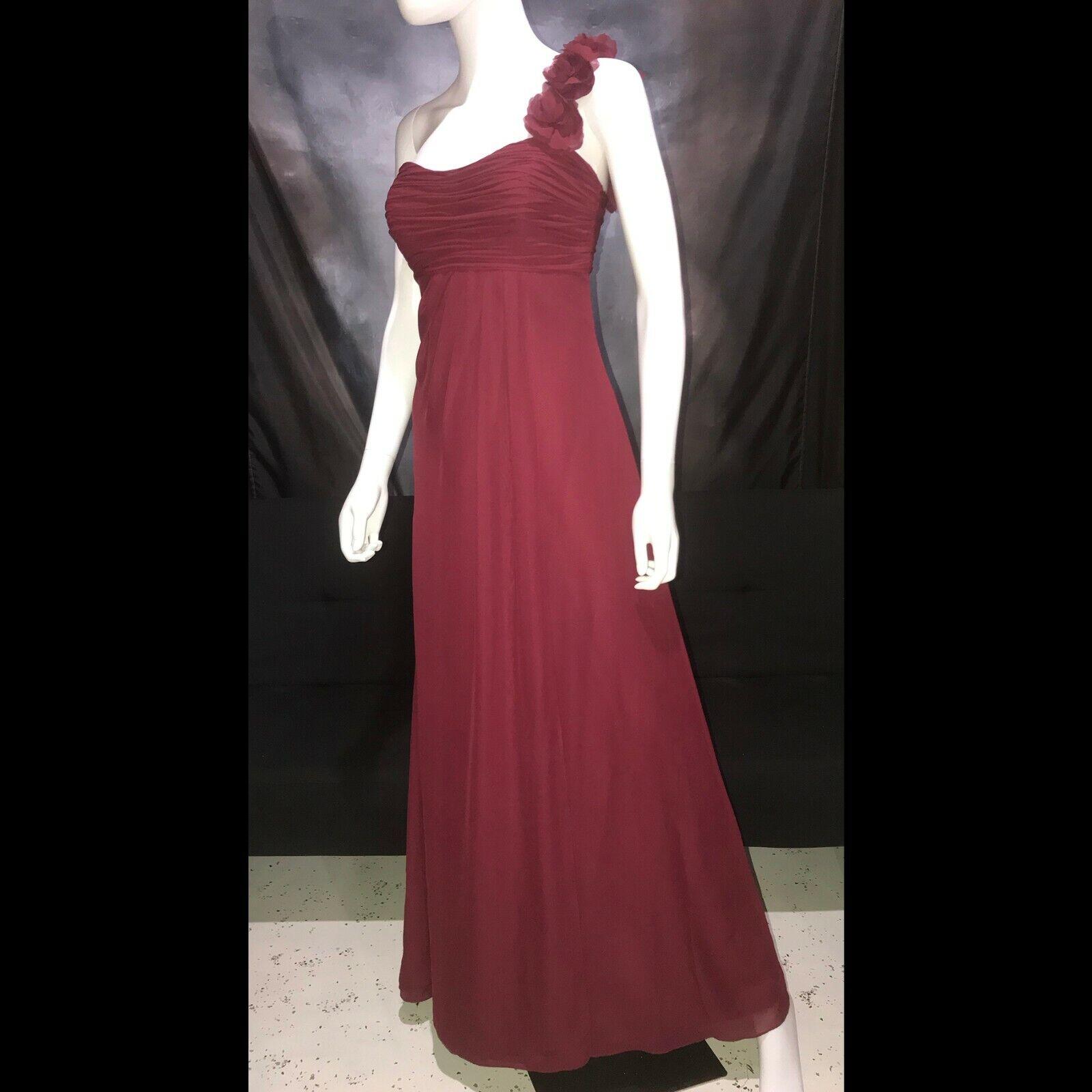 Vtg Jordan Maroon Chiffon One Shoulder Formal Gown Prom Dress Size 4