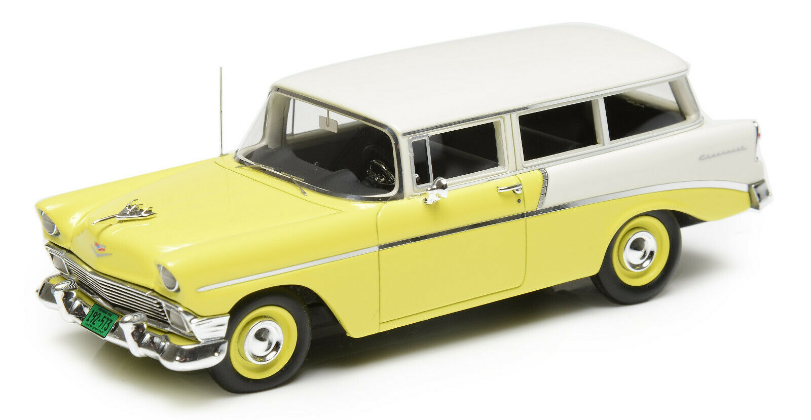 1 43 1956 Chevrolet 210 Handyman 2 door station wagon cream yellow Esval Models