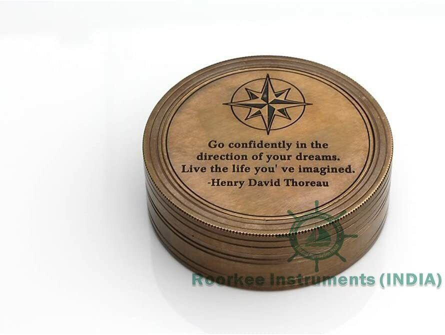 Antique Nautical Brass Sundial Compass W Leather Cover - Working Replica Compass