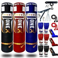 Punch Bags Filled 3ft/4ft/5ft Heavy Multi Color Set,Chain,Bracket,Gloves,MMA