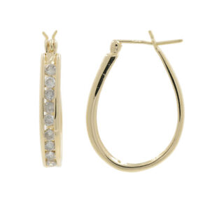 Details About Las Vintage Estate 14k Yellow Gold White Diamond Oval Hoop Earrings