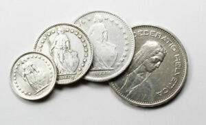 Lot-de-4-Pieces-en-Argent-Suisses-Demi-Franc-1-Franc-2-Francs-5-Francs