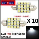 10 X Festoon Xenon WHITE 36mm LED Dome Light Bulb 12 SMD LED chips Interior 3528