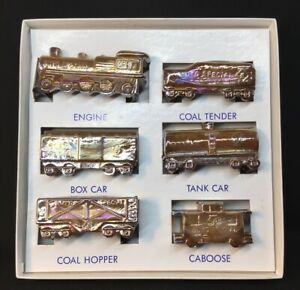 Boyd-Art-Glass-Six-Piece-Chocolate-Carnival-Boyd-s-Special-Train-Set