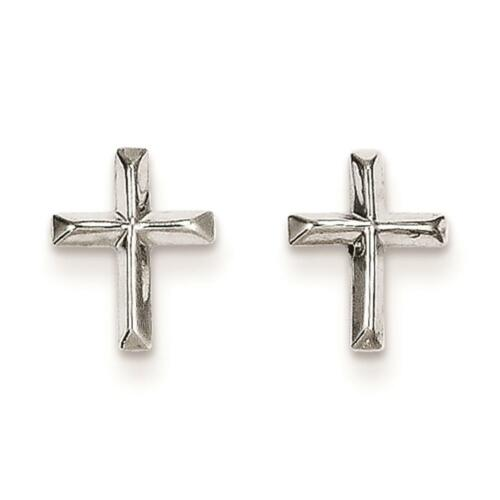 14k White Gold Childrens Madi k Religious Cross Post Stud Earrings 8mm x 6mm