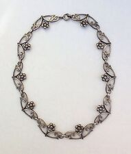 Amazing vintage Sterling Silver Floral Filigree Victorian Style Collar Necklace
