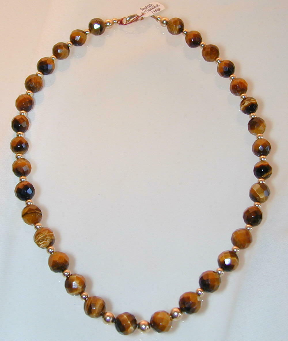 Tigers Eye Faceted 9mm  w  4mm GF Beads and Findings. Style 1005 19.5  Hand Made