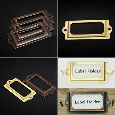ANTIQUE BRASS PULL OPEN TAB CARD HOLDER FRAMES *3 SIZES* FILING CABINET STURDY