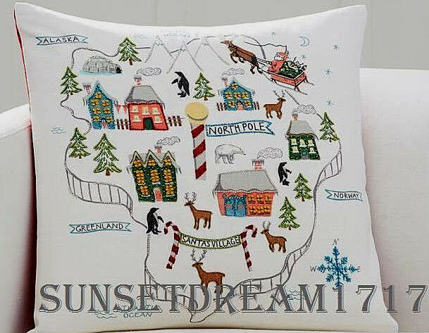 Pottery Barn Christmas North Pole Map Embroidered Pillow Cover 20