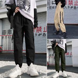 Mode-Femme-Pantalon-cargo-Loisir-Casual-Confor-Poches-Taille-elastique-Plus