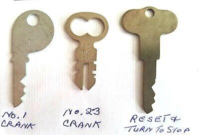 2 Antique National Cash Register Keys 1 3A 5 /& Reset Key 300//700 NCR!