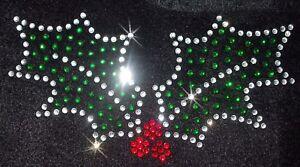 XMAS-HOLY-IVY-2-LEAF-iron-on-RHINESTONE-diamante-bling-BEAD-diy-TRANSFER-patch