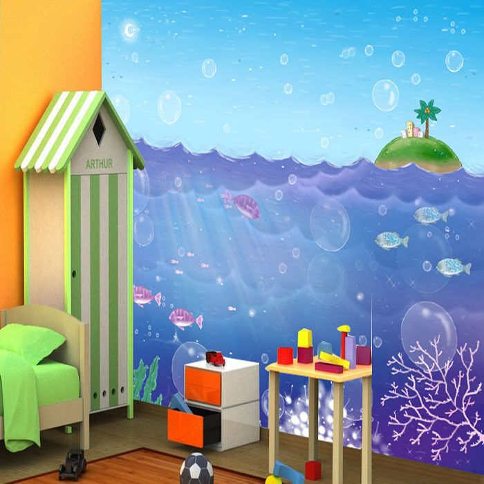 3D Blauer Ozean, Blase 377 Fototapeten Wandbild Fototapete BildTapete Familie DE