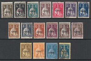 Azores-Sc-155-172-used-1912-21-Ceres-definitives-on-chalky-paper-perf-15x14