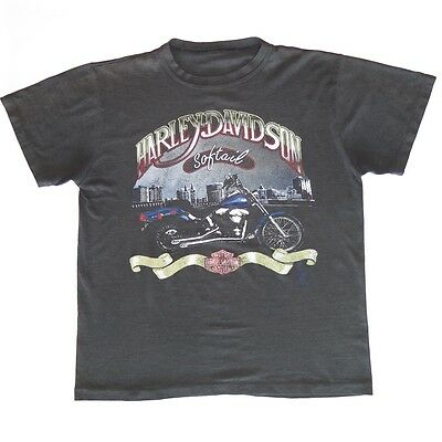 VINTAGE ORIGINAL TEE SHIRT HARLEY DAVDSON SOFTAIL DISTRESSED THIN 1980s LARGE