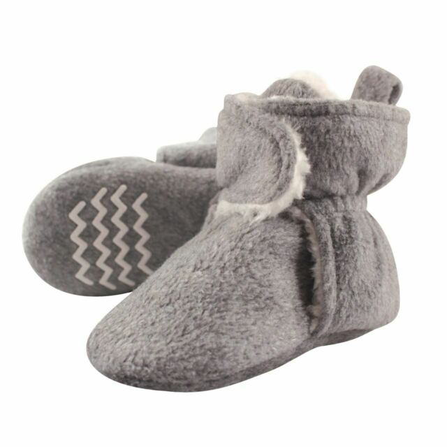 Hudson Baby Baby Cozy Velour Booties with Non Skid Bottom